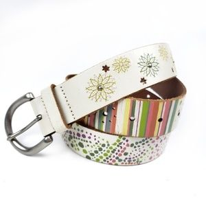 Fossil White Leather Flower Stripe Belt sz Large